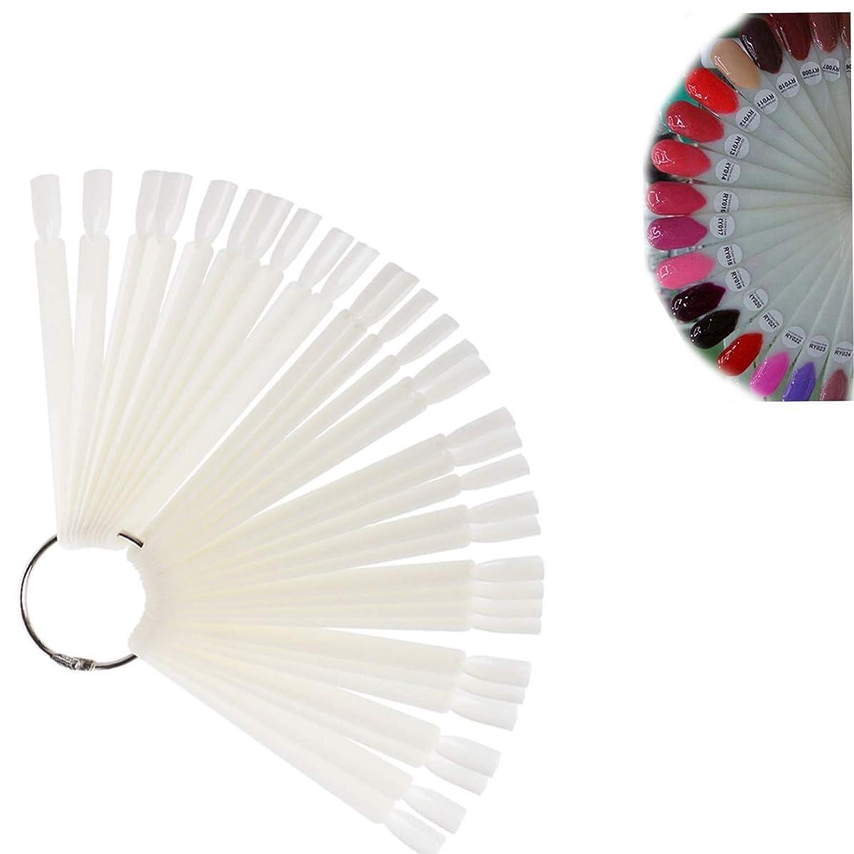 移住する場合飲み込むPinkiou偽ネイル カラーチャート ネイルアート スティック チップ 偽ネイル ディスプレー 練習用 女性用 折り畳み式 (ホワイト 50個)