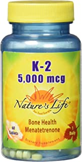 Nature's Life Vitamin K2 5000mcg | High Potency MK4 Formula Helps Support Bone & Cardiovascular Health | Non-GMO | 60 Vege...