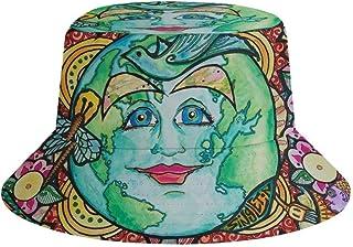 JHGFG Sombrero de Pescador Liso para niños Niños Juventud - Trippy Sun Moon Gorra Ancha Boonie Ajustada Sombrero para el S...