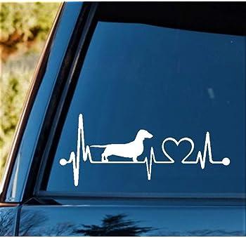 K1025 Dachshund Heartbeat Lifeline Monitor Dog Decal Sticker