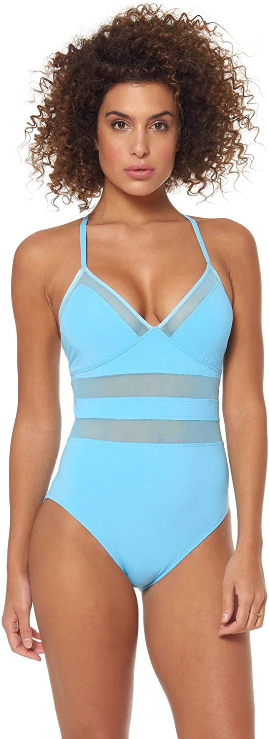 blue   Rod Beattie Women's Mesh XBack One Piece Swimsuit Swimsuit