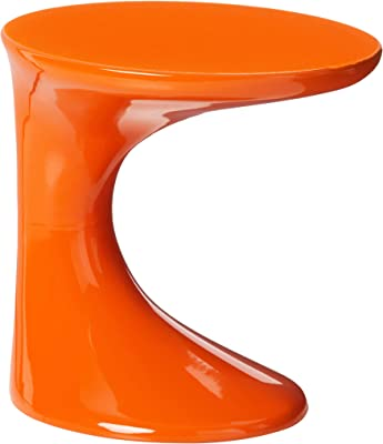 OSP Home Furnishings Slick High Gloss Finish Side Occasional Table, Orange