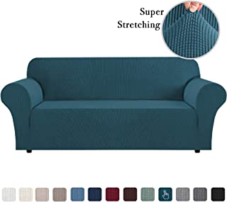 High Stretch Sofa Slipcover 1 Piece Sofa Cover Anti-Slip Sofa Cover for Living Room Jacquard Spandex Couch Cover Furniture Protector Machine Washable (XL Sofa, Deep Teal)