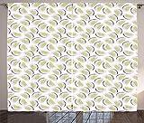 ABAKUHAUS Melone Rustikaler Gardine, Frische Zusammenfassung Wassermelone, Schlafzimmer Kräuselband Vorhang mit Schlaufen und Haken, 280 x 260 cm, Baby-Rosa Pastellgrün Koksgraue Weiß