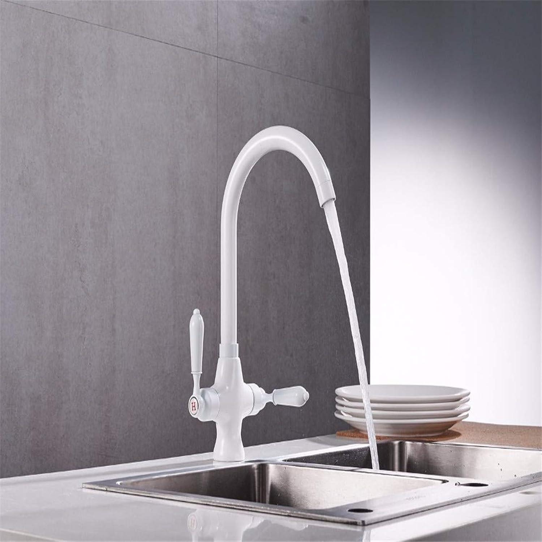 Retro Hot and Cold Faucet Retrowhite Paint Double Handle Kitchen Mixer Deck Kitchen Faucet