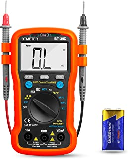 BTMETER BT-39C True RMS Digital Multimeter Auto Ranging for AC DC Voltage,Current, Resistance, Capacitance Tester with Temp Battery LED Test Auto Backlit