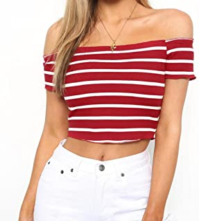 WM & MW Women Sexy Crop Tops Off Shoulder Short Sleeve Ribbed Striped T-Shirt Blouse Tops
