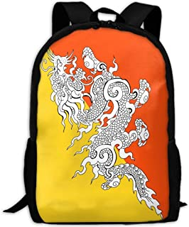 National Bhutan Flag Adult Travel Backpack School Casual Daypack Oxford Outdoor Laptop Bag College Shoulder Bags