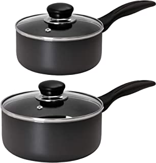 Utopia Kitchen Nonstick Saucepan Set - 1 Quart and 2 Quart - Glass Lid - Multipurpose Use for Home Kitchen or Restaurant