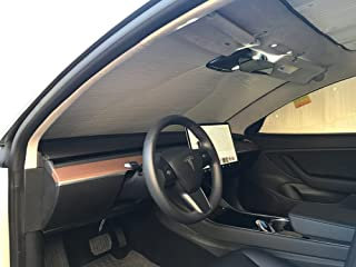 The Original Windshield Sun Shade, Custom-Fit for Tesla 3 Sedan 2018, 2019, Silver Series