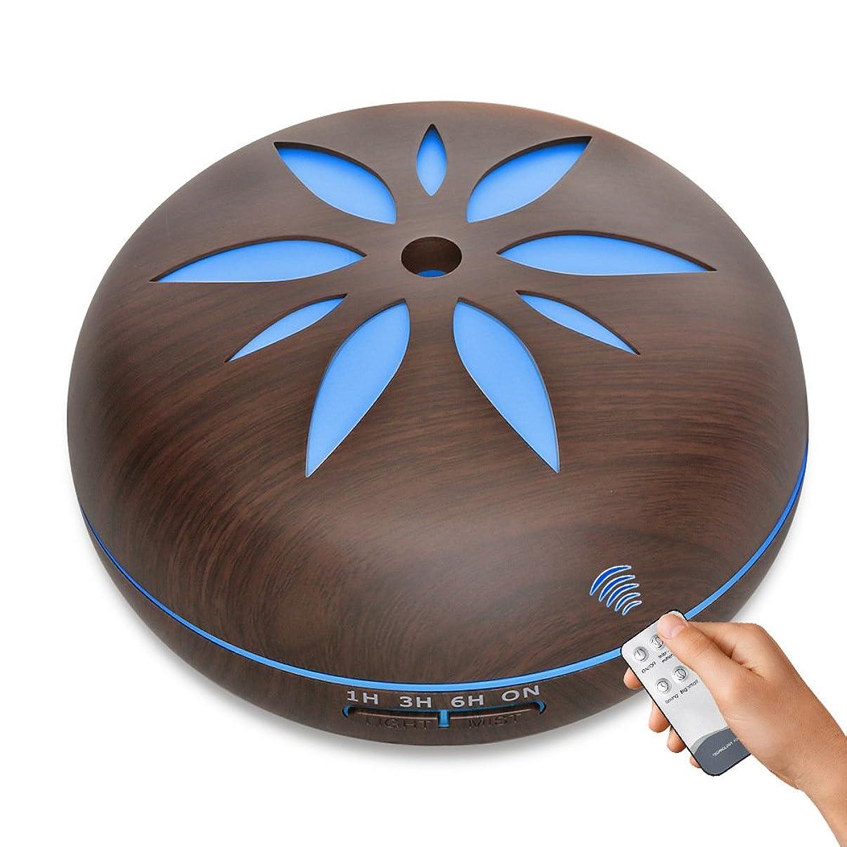 低いエスニック台風加湿器 アロマディフューザー、550mlエッセンシャルオイルディフューザー、フレグランスアトマイザー、アロマセラピーマシン、ヨガスパオフィスファミリーベッドルームリビングルーム研究ベビールームに適しています,Darkwoodgrain