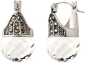 Linda Schnoll Hematite and Ball Hinged Pierced Earrings - Swarovski Crystal Faceted