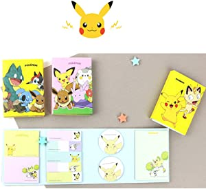 Sticky Notes Pads Bookmark Pikachu Design Sticker Memo Pad Tab Note Set of 3