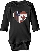 KIDDDDS Baby USA Canada Flag Heart Long Sleeve Romper Onesie Bodysuit Jumpsuit