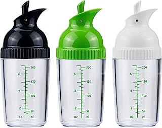 Nicunom 3 Pack Salad Dressing Shaker, 6.7 Oz Good Grips Dressing Mixer Shaker Bottles, Black & White & Green