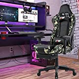 Gank Gaming Chairs High Back Computer Chair of Professional Racing Style Comfortable Gamer Chair with Footrest and Massage Backrest and Lumbar Pillows (Camouflage)