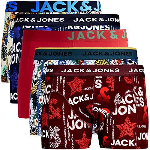 JACK & JONES Trunks 5er Pack Boxershorts Boxer Short Unterhose Mehrpack (L, 5er Pack Bunt 15 ohne Wäschesack)