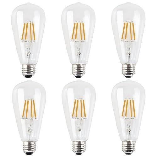 6X E27 Bombilla Edison Vintage Dimmable 4W Filamento LED Blanco Cálido 2200K ST64 Bombilla de Filamento