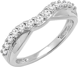 Dazzlingrock Collection 0.55 Carat (ctw) 10K Gold Round Diamond Ladies Wedding Guard Contour Band 1/2 CT