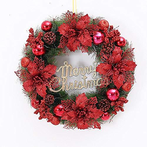 Topashe Hoja de Arce Calabaza Berry Guirnalda,Guirnalda de decoración navideña, decoración de Escena de Guirnalda-Red_30cm,Corona de Navidad con iluminación