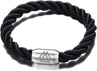 VNOX Viking Jewelry Handmade Braid Rope Stainless Steel Valknut Scandinavn Odin Symbol Cuff Bracelet