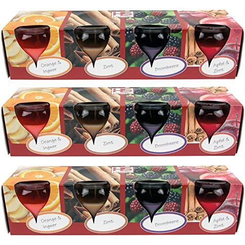 HS Candle Duftkerzen Selection 12er Pack im Glas, lange Brenndauer und angenehmer Duft (Winter Spice)