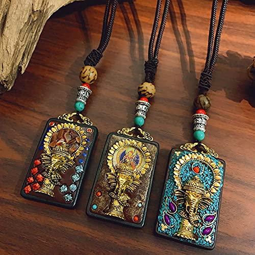 JIUXIAO Colgantes y Collares de Elefante de Buda de Estilo étnico Vintage, Collar de suéter Largo exagerado de Nepal, joyería para Hombres y Mujeres