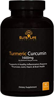 Pure Turmeric Curcumin 1600mg with Bioperine 10mg and 95% Curcuminoids - Maximum Strength and Absorption - Best Turmeric Root Extract for Men and Women - Supports Heart and Joint Health - 90 Capsules