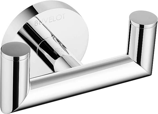 BUVELOT 077020 CR Leo Brass Double Robe Hook Modern Chrome