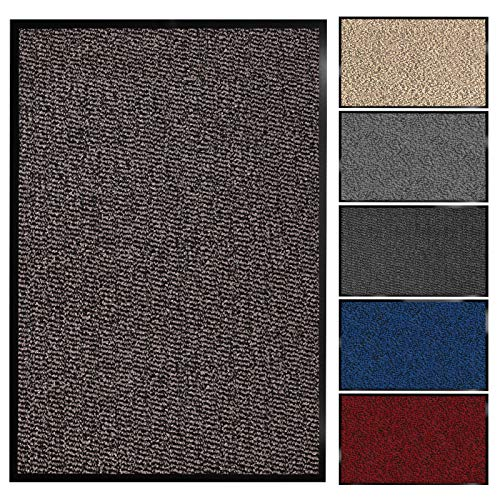 Floordirekt Schmutzfangmatte Sky | Fussmatte in 11 Größen & viele Farben | Türmatte für innen & außen (90 x 120 cm, Ocker-Braun)