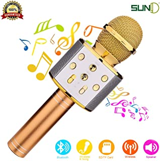 SUNY Wireless Bluetooth Karaoke Microphone Portable Handheld Karaoke Mic Speaker New Year Gift for Kids Adults Birthday Home Party KTV Compatible with iPhone/Android/iPad/PC/All Smartphone (Gold)