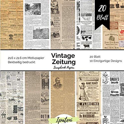 Scrapbook Papier Vintage Zeitung: Motivpapier Beidseitig Bedruckt Vintage Papier zum basteln 20 Blatt 21.6 x 21.6 cm Bastelpapier für vielfältige Bastelarbeiten