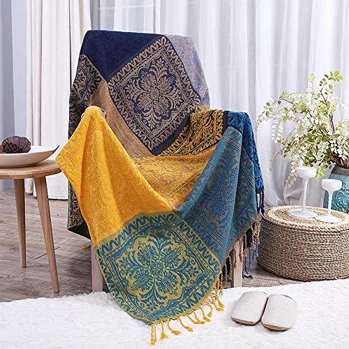 ZZYC Sofa-Decke Mittelmeer Nepal Stil Fleece Blanket Decke Abdeckung Handtuch Bett Decke Erkerfenster Kissenbezug Handtuch Freizeit Abdeckung Cloth,150X190cm