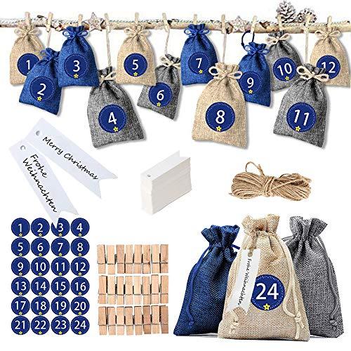 Anyasen Calendario de Adviento 24 Saquitos de Tela Bolsas de Yute para Rellenar con Calendario de Adviento Casero Bolsa de Regalo con Cuerda de Yute Etiquetas para Navidad Decoración Navideña (Azul)