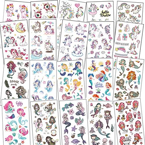 20 Blätter Tattoo Kinder Mädchen Einhorn Meerjungfrau,Cartoon Kindertattoos,Temporäre Tattoos Kinder Aufkleber Set für Kinder Mitgebsel Kindergeburtstag