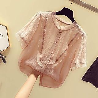 上衣女短袖2019夏款洋气雪纺衫心机衬衫设计感超仙蕾丝甜美小衫薄