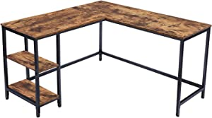 HOOBRO L-Shaped Computer Desk, Industrial Corner Writing Desk with Shelves, Study Workstation for Home Office, Stable and Space-Saving, Rustic Brown BF35DN01