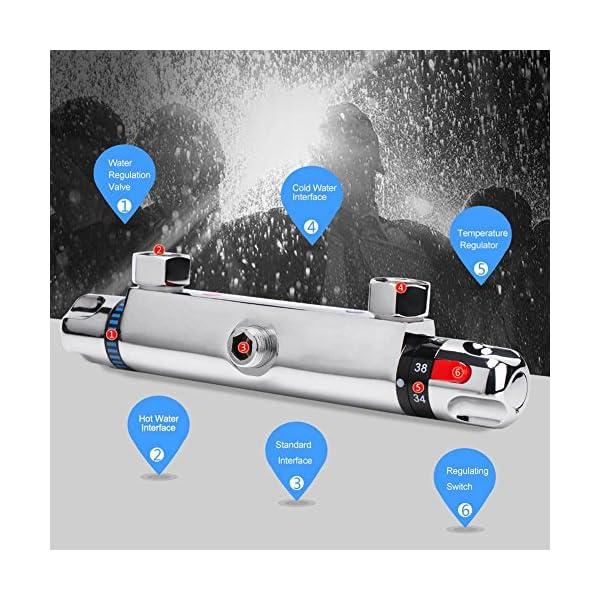 Grifo Termostático Ducha en Cobre, Grifo Termostático de Ducha Grifo Termostático de Bañera Protección Seguridad…