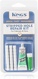 King's Original Stripped Hole Repair Kit for Cabinets & More | 1/4 Size Natural Color Plastic Dowel System | Permanently Fix Damaged Screw Holes in All Wood Types
