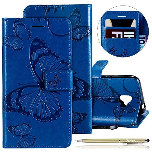 Buy Bargain Herbests Compatible with Samsung Galaxy J2 Pro 2018 Wallet case Butterfly Pattern Premium Eelegant Leather Stand Flip Full Body Protective Cases Cover Credit Card Slot Magnetic Closure,Blue