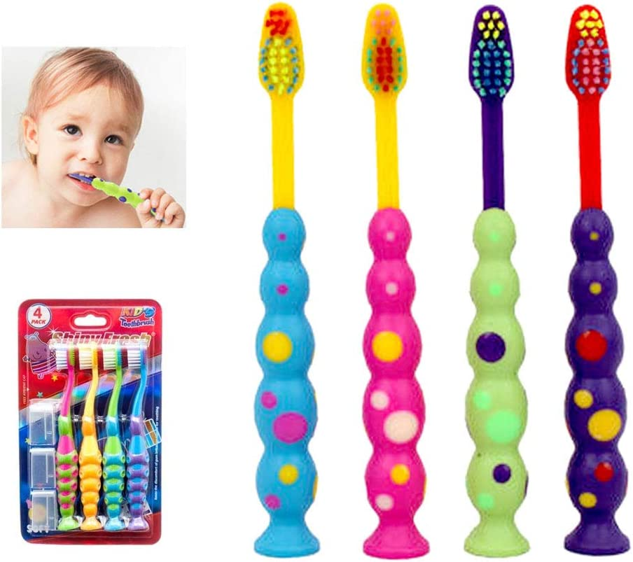 4 X Ball Polka Dot Toothbrush Bristle Max 43% OFF Soft San Jose Mall Suction Set Stand Cup