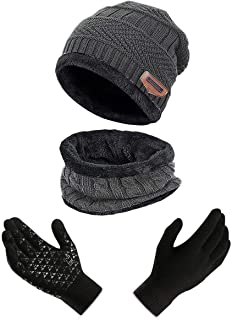 ANJUREN Adult Hat Beanie Scarf Gloves Men Women Snow Warm Winter Knitted Cap Scarves Non-Slip Touch Glove Mittens