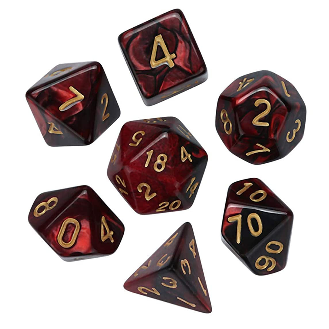lotus.flower Game Dice,7Pcs Durable Resin Polyhedral Dice Set- Fun Role Playing Gaming Props Dungeons Dragons RPG MTG Table Games