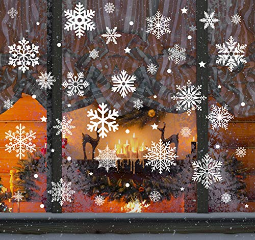 140 Schneeflocken Fensterfolie, Fensterdeko Fensterbild Statisch Haftende PVC Aufkleber Weihnachten Dekoration - Selbstklebend Fenstersticker für Weihnachts-Fenster Dekoration, Schaufenster, Vitrinen