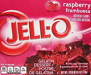 Jell-O Raspberry Gelatin Desert Mix 6 oz Box  4 Packs