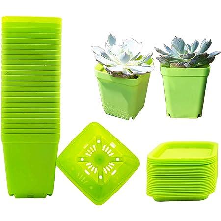 12 Pots for Plants with Saucers Plastic Plant Pots Foxany 2.8 Nursery Pots Blue 12 Pcs Thick Plastic Square Seedling Pots