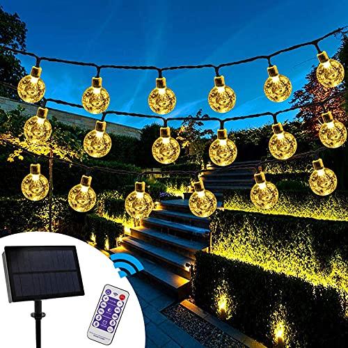 Catena luminosa a LED a energia solare,6.5M 30 LED Catena Luminosa Energia Solare 8 modo Catene luminose LED solare Catena di luci a LED a energia solare per esterni IP65 impermeabile bianca calda