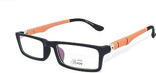 Retro RE96 Unisex Spectacle Frames Square, Black/Orange, 50