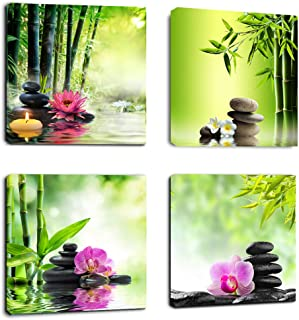 Canvas Art Zen Prints Spa Wall Decor 4 Panel Artwork Modern Picture Framed Ready to Hang - Spa Massage Treatment Red Orchid Waterlily Black Stone Art