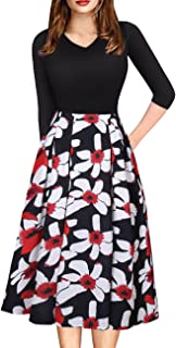 Womens Vintage 3/4 Sleeve Bohemia Floral Midi Patchwork Dress Puffy Swing Casual Party Evening Dress with Pocket